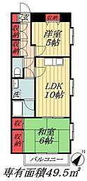 JR京葉線 新浦安駅 徒歩6分の賃貸マンション 3階2LDKの間取り