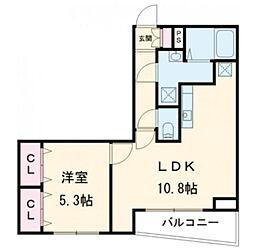 THE CLASS OMORI 2階1LDKの間取り
