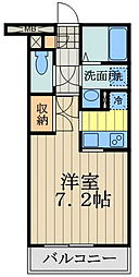 JR中央線 武蔵境駅 徒歩6分の賃貸マンション 2階1Kの間取り