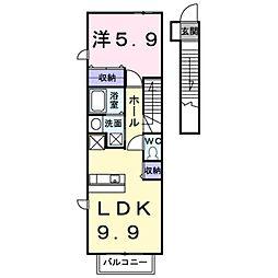 愛知県豊橋市大崎町字西里中の賃貸アパートの間取り