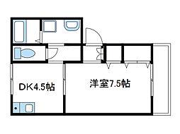 神奈川県厚木市妻田西1の賃貸アパートの間取り