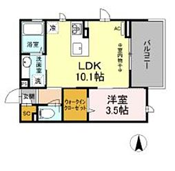 仮)D-room柏町 2階1LDKの間取り