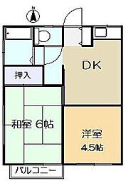 神奈川県川崎市多摩区生田1の賃貸アパートの間取り