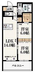 (仮称)東恋ヶ窪2丁目メゾン 3階2LDKの間取り