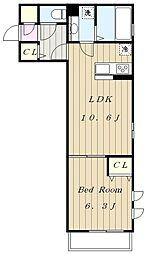 JR南武線 中野島駅 徒歩5分の賃貸アパート 2階1LDKの間取り