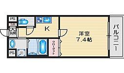 ロイヤルクイーンズパーク吹田片山町 8階1Kの間取り