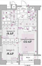 東京メトロ南北線 麻布十番駅 徒歩6分の賃貸マンション 7階2LDKの間取り