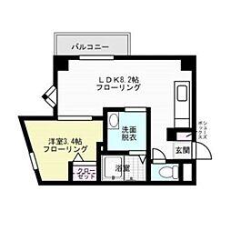 福岡県福岡市中央区赤坂3丁目の賃貸アパートの間取り
