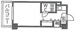 三越青葉台 3階ワンルームの間取り