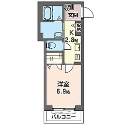仮)木更津駅前マンション 2階1Kの間取り