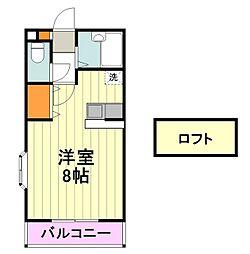 ティアラ 3階ワンルームの間取り