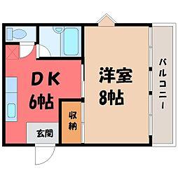 栃木県宇都宮市泉が丘2丁目の賃貸アパートの間取り