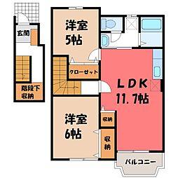栃木県さくら市氏家の賃貸アパートの間取り