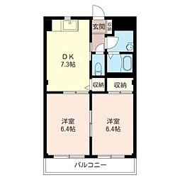 リヴェール II 3階2DKの間取り