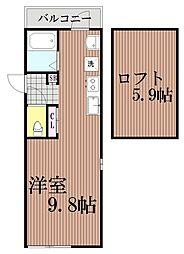東京都大田区仲池上2丁目の賃貸アパートの間取り