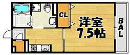 JR福知山線 川西池田駅 徒歩7分の賃貸アパート 2階1Kの間取り