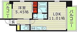 プレジオ城東中央 9階1LDKの間取り