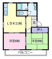 プレジール樫山 B棟[2階]の間取り