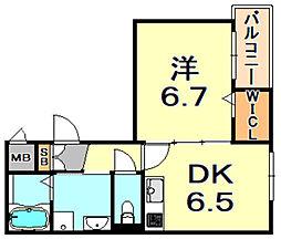 阪神本線 御影駅 徒歩2分の賃貸マンション 3階1DKの間取り