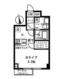 神奈川県横浜市南区中里1丁目の賃貸マンションの間取り