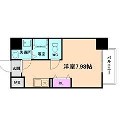 新梅田セントラルヒルズ 3階ワンルームの間取り