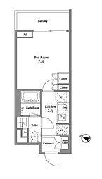 東急池上線 雪が谷大塚駅 徒歩7分の賃貸マンション 4階1Kの間取り