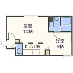 札幌市営南北線 北24条駅 徒歩5分の賃貸マンション 2階1LDKの間取り