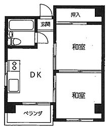 サンハイム秋葉原秦ビル 4階2DKの間取り