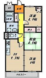 大阪府大阪市鶴見区浜4丁目の賃貸マンションの間取り