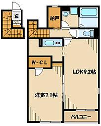 JR横浜線 町田駅 バス33分 日大三高入口下車 徒歩2分の賃貸アパート 2階1LDKの間取り