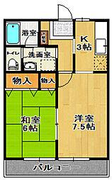 長谷川ビレッジB棟[105号室]の間取り