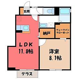 栃木県真岡市亀山1丁目の賃貸アパートの間取り