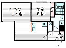 コンフォシード東坂下 1階1LDKの間取り