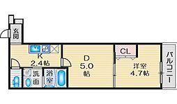 Osaka Metro御堂筋線 江坂駅 徒歩13分の賃貸アパート 1階1DKの間取り