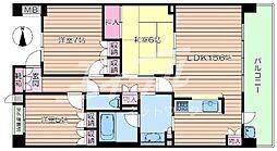 大阪府吹田市古江台3丁目の賃貸マンションの間取り