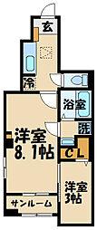 京王線 多磨霊園駅 徒歩8分の賃貸アパート 1階1SKの間取り