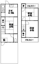 [テラスハウス] 大阪府枚方市村野東町 の賃貸【/】の間取り