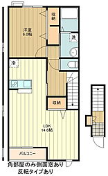 JR青梅線 昭島駅 バス15分 残堀南下車 徒歩2分の賃貸アパート 2階1LDKの間取り