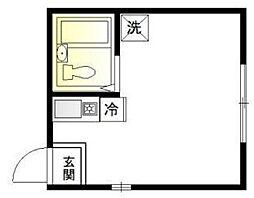 ワイズ神楽坂 1階ワンルームの間取り