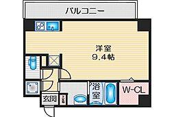 スペーシア江坂南金田 4階1Kの間取り