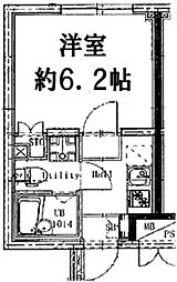 フィールコンフォート大森北 2階1Kの間取り