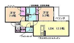 大阪府豊中市本町3丁目の賃貸マンションの間取り