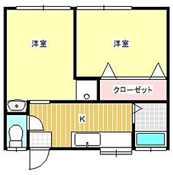 けやき荘 A[22号室]の間取り