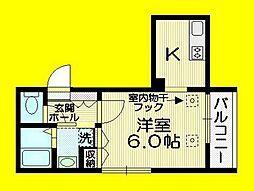 シャトーヴェール 3階1Kの間取り