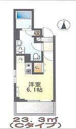 Casa Iris(カーサ イリス) 200B 3階ワンルームの間取り