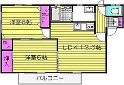 ハ−トランド三苫F棟[202号室]の間取り