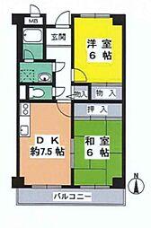 JR阪和線 三国ヶ丘駅 徒歩7分の賃貸マンション 2階2DKの間取り