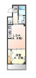 JR阪和線 堺市駅 徒歩6分の賃貸マンション 2階1LDKの間取り