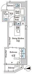 パークアクシス三番町 2階1DKの間取り