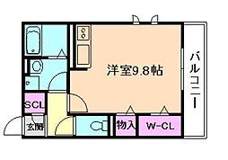 阪急宝塚本線 岡町駅 徒歩3分の賃貸アパート 1階ワンルームの間取り